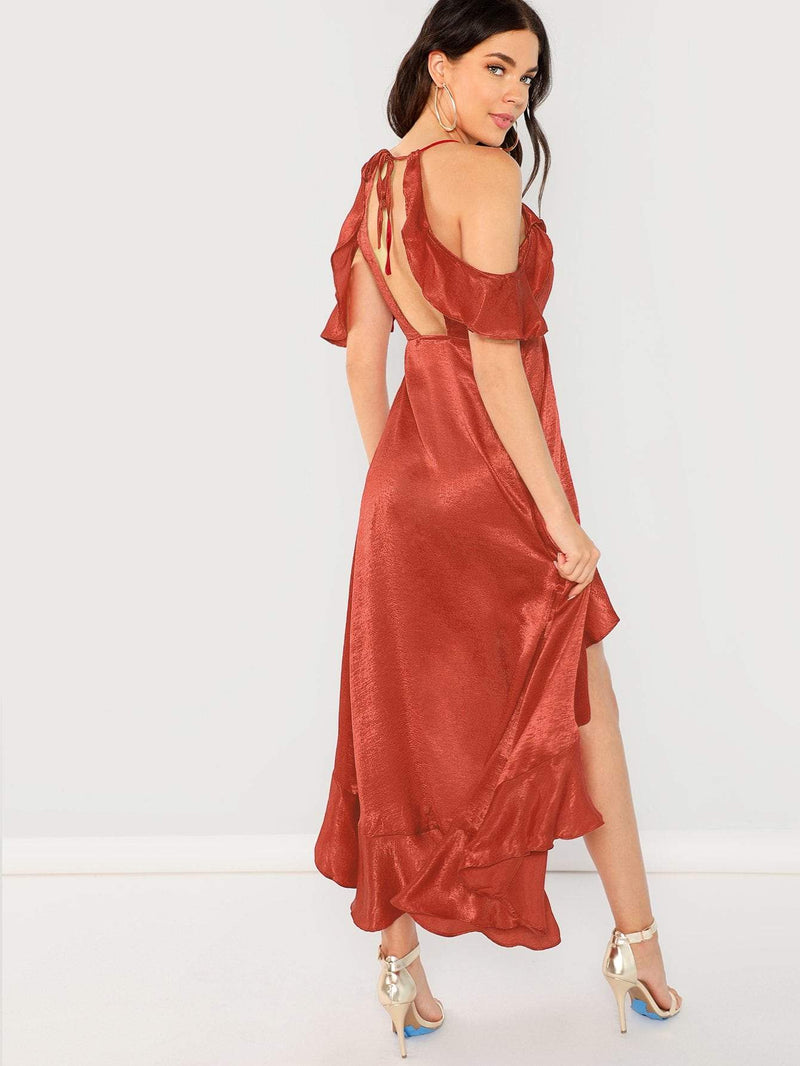 Cold Shoulder Surplice Wrap Ruffle Dress - Salted Seagull