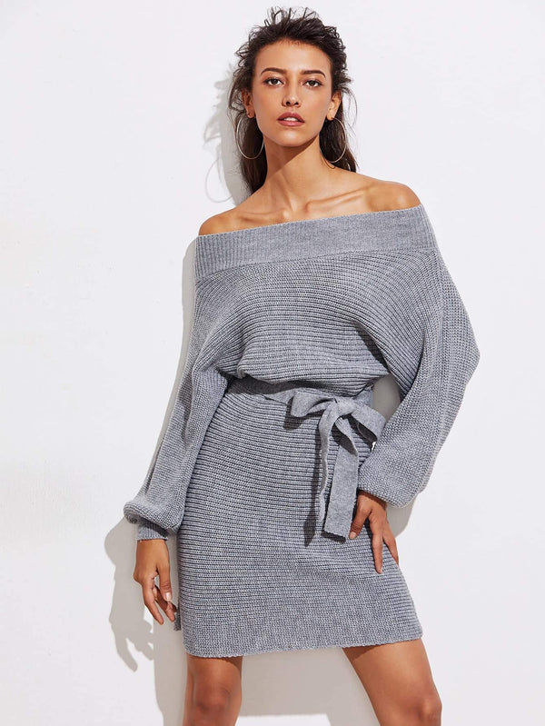 Batwing Sleeve Self Tie Sweater Dress - Salted Seagull