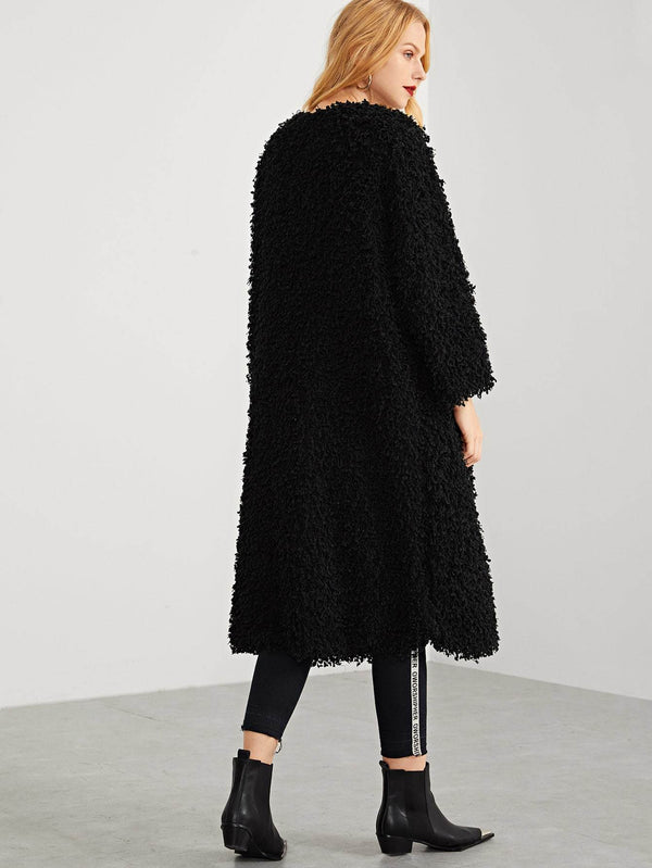 Solid Longline Teddy Coat