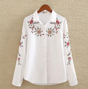 Embroidery White Cotton Shirt Autumn New Fashion Women Blouse Long Sleeve Casual Tops Loose Shirt Blusas Feminina plus size