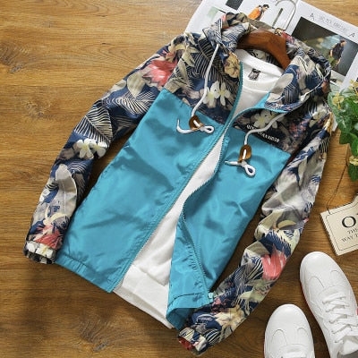 Floral Jacket Autumn Mens Hooded Jackets Slim Fit Long Sleeve Homme Trendy Windbreaker Coat Brand Clothing Drop Shipping