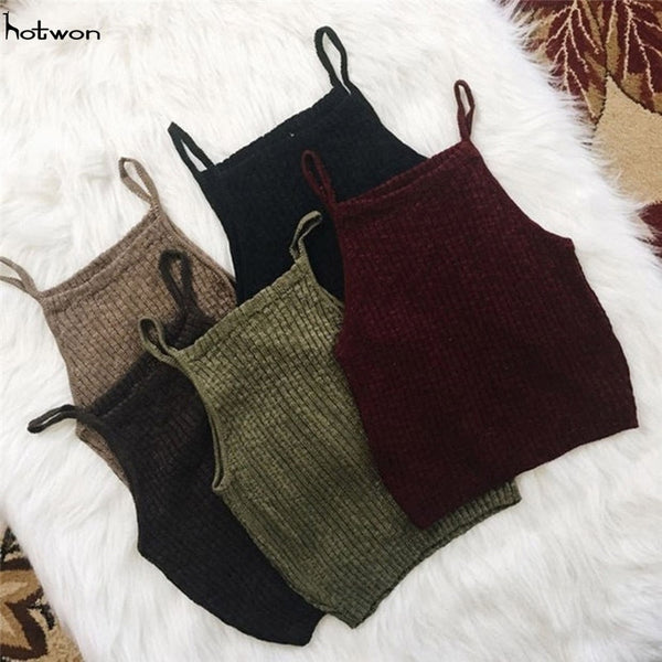 New Hot Sale Fashion Women Knitwear Sleeveless Tops Shirt Blouse Casual Crop Tops T-Shirts
