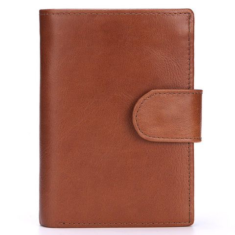 Baellerry Men Wallet Oil Wax Cowhide Genuine Leather Wallets Coin Purse Clutch Hasp Open Top Quality Retro Short Wallet 13.5cm