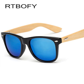 RTBOFY Retro Wood Sunglasses Men Bamboo Sunglass Women Brand Design Sport Goggles Gold Mirror Sun Glasses Shades