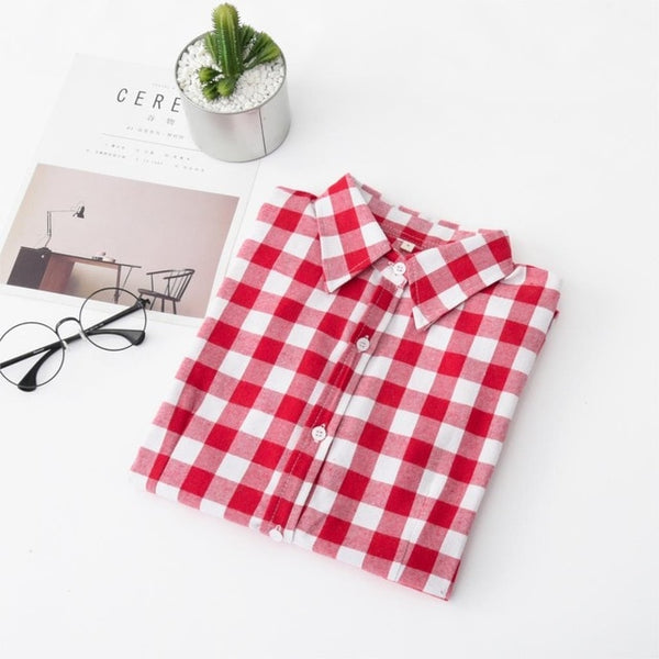 New Brand Women Blouses Long Sleeve Shirts Cotton Red and Black Flannel Plaid Shirt Casual Female Plus Size Blouse Tops