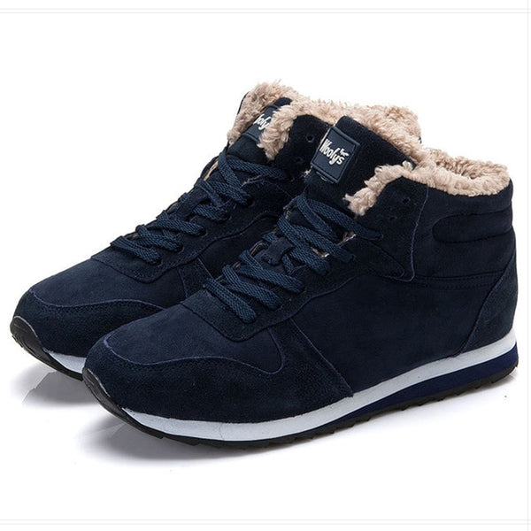 Winter Boots Men Leather Winter Shoes Men Plus Size Tennis Sneakers For Winter Ankle Boots Male Warm Lovers Casual Botas Hombre