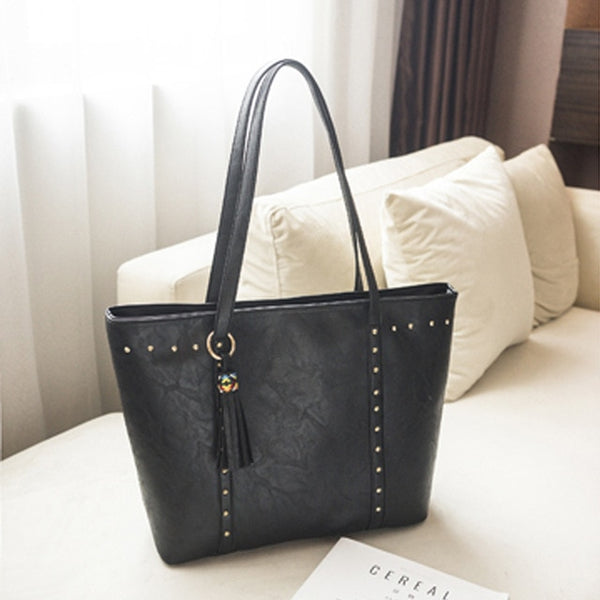 Rivet PU Leather Women Handbag Casual Tassel Women Shoulder Bag