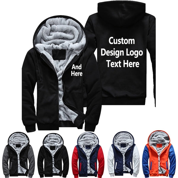 Men's Women's Printing Pattern Thicken Fleece Zipper Hoodies Sweatshirt Coat Jacket