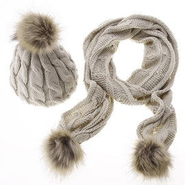 Winter Hats For Women Knitted Two piece Girl Solid Color Warm Wool Hats Scarves Suit Female wool Pompon Scarf