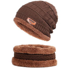New Brand Solid Color Knit Beanies Hat Scarf Plus Velvet Winter Hat Man Woman Warm Thicken Hedging Cap Ski Soft Scarves