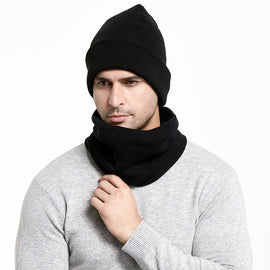 Winter Men Hats Scarf Set Keep Warm Thick Knitted Caps Winter Accessories Male Beanie Scarf Autumn Thicken Hedging Cap