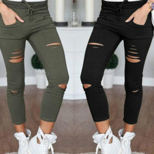 New Skinny Jeans Women Denim Pants Holes Destroyed Knee Pencil Pants Casual Trousers Black White Stretch Ripped Jeans