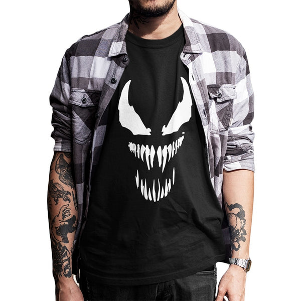 Venom T shirt Men Cool Comic Originality Black Cotton T-shirt Anime High Quality EU Size Movie Tops Tee Homme