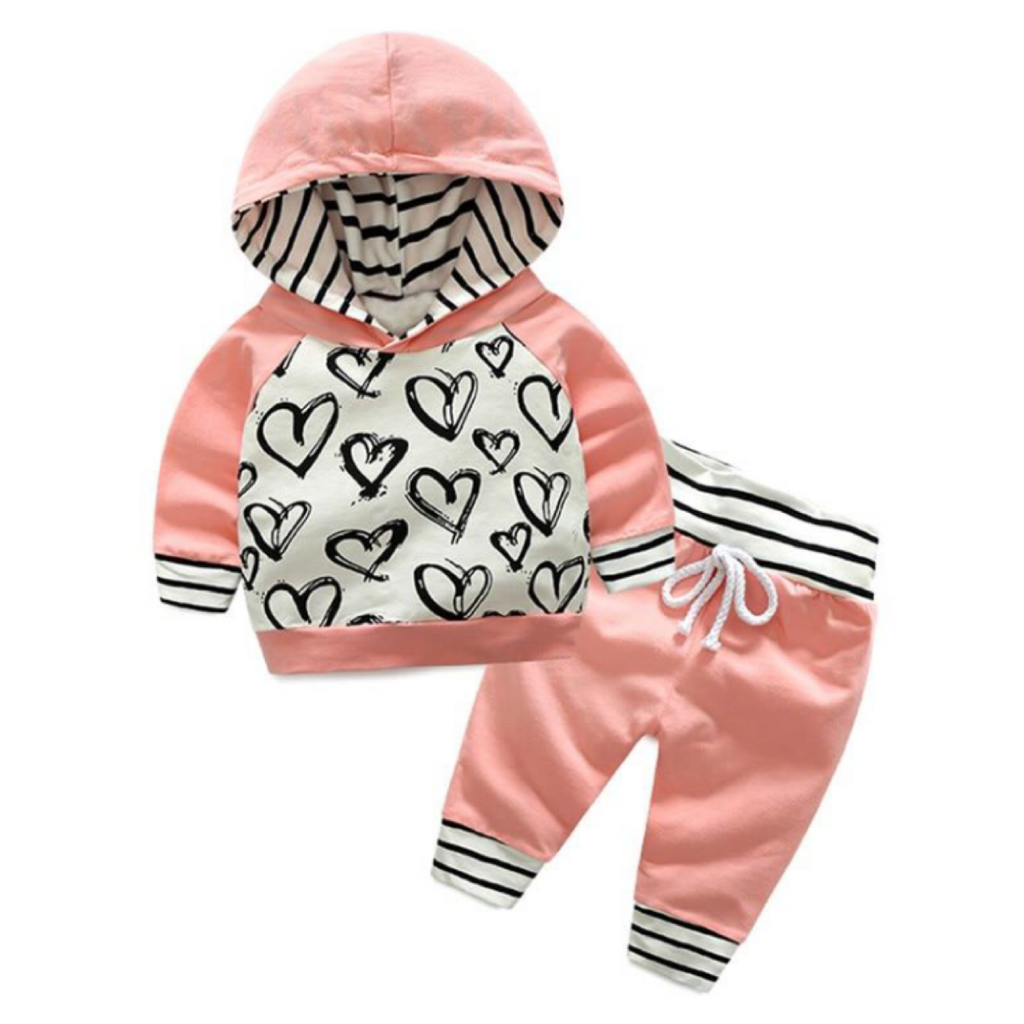 Heart Stripe Set (Pink and Blue) (3M-24M)
