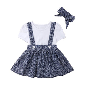Floral Polka Dot Suspender Skirt (12M-5)