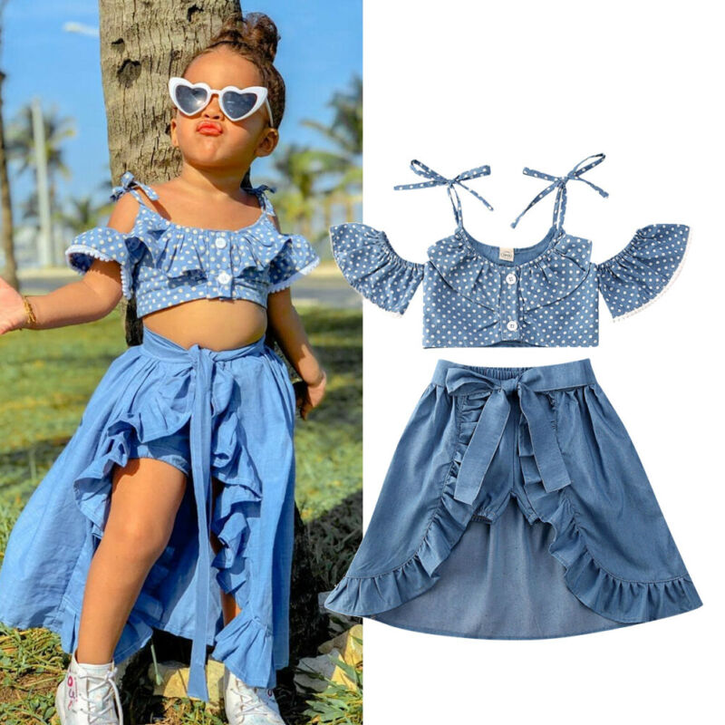 Polka Dot Denim Skort Set