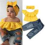 Yellow Off The Shoulder Distressed Set