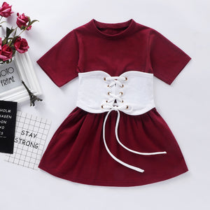 Wine Corset Dress Set
