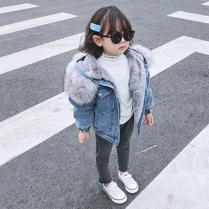 Faux Fur Denim Jacket