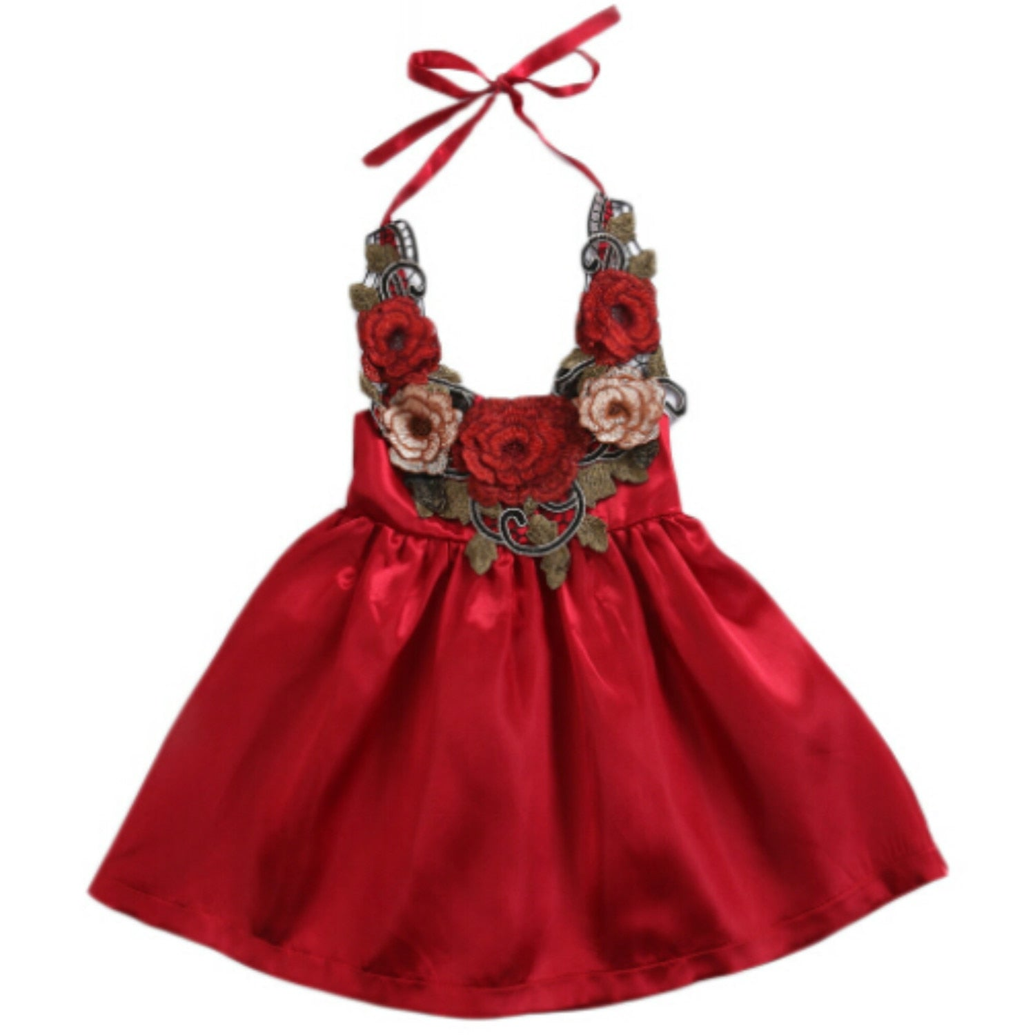 Silk Rose Halter Dress (12M-5)