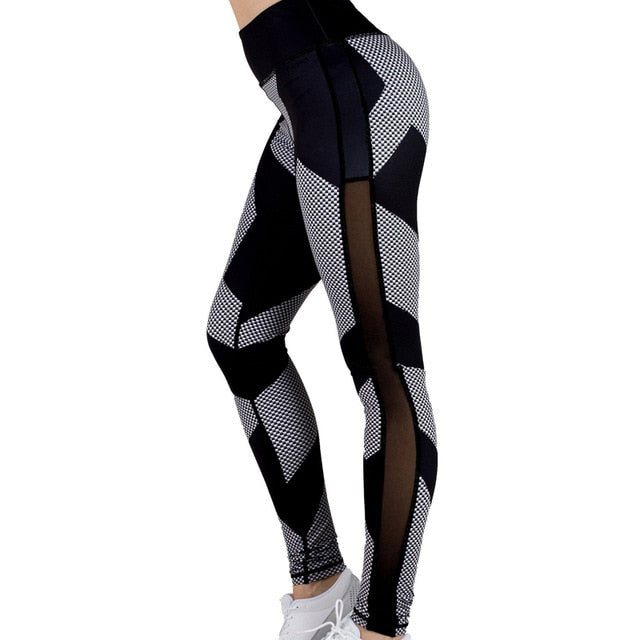 Mesh Checkered Fitness Leggings
