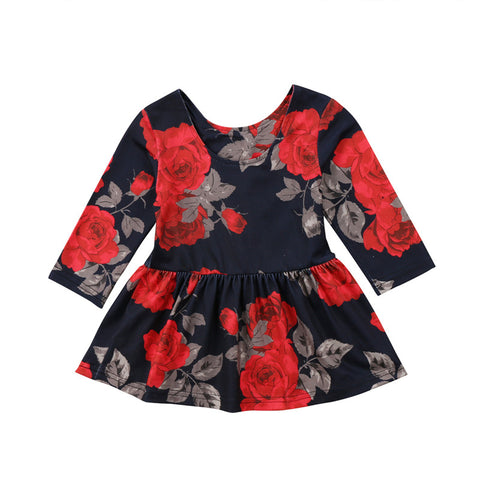 Navy Rose Dress (6M-24M)