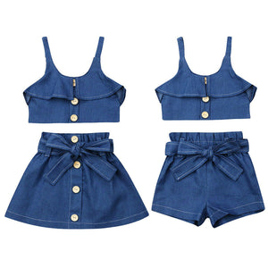 Denim Skirt/Short Set