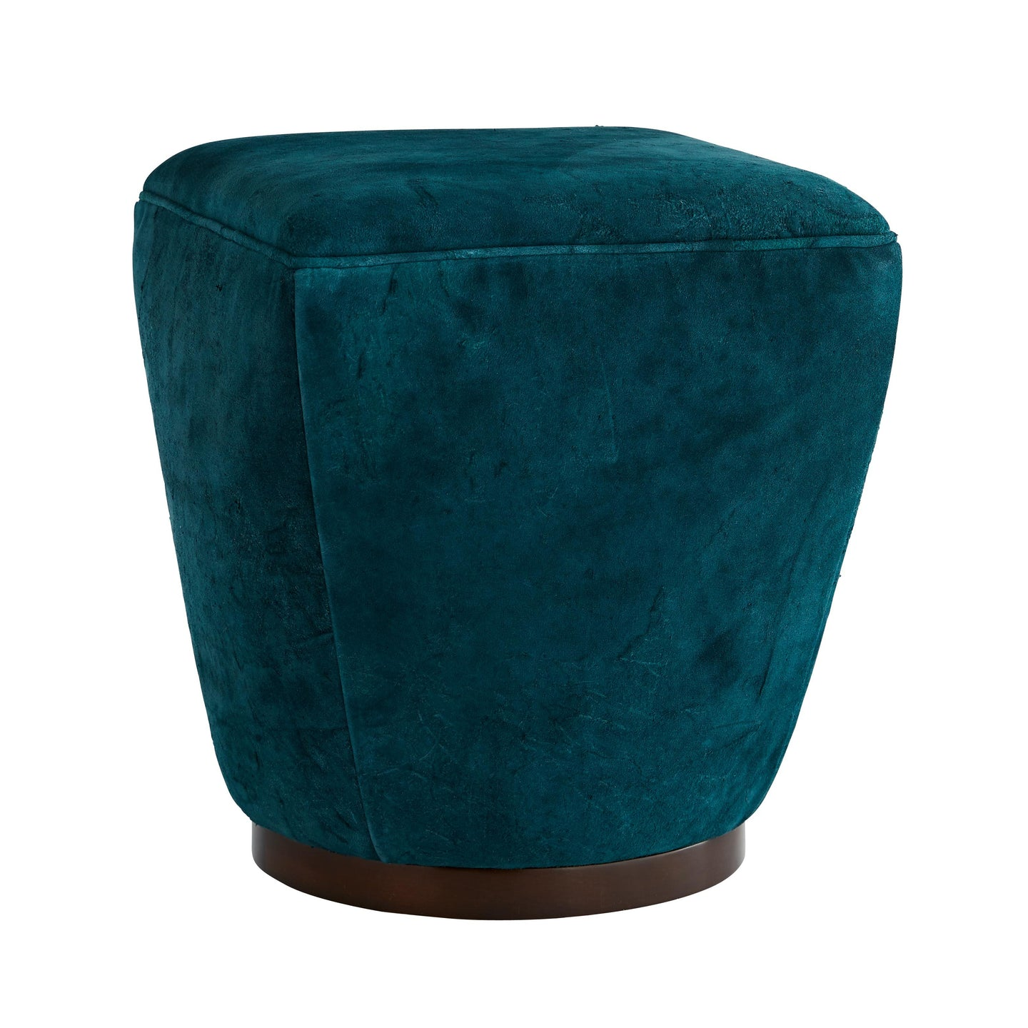 Theo Ottoman Peacock Distressed Leather Dark Walnut