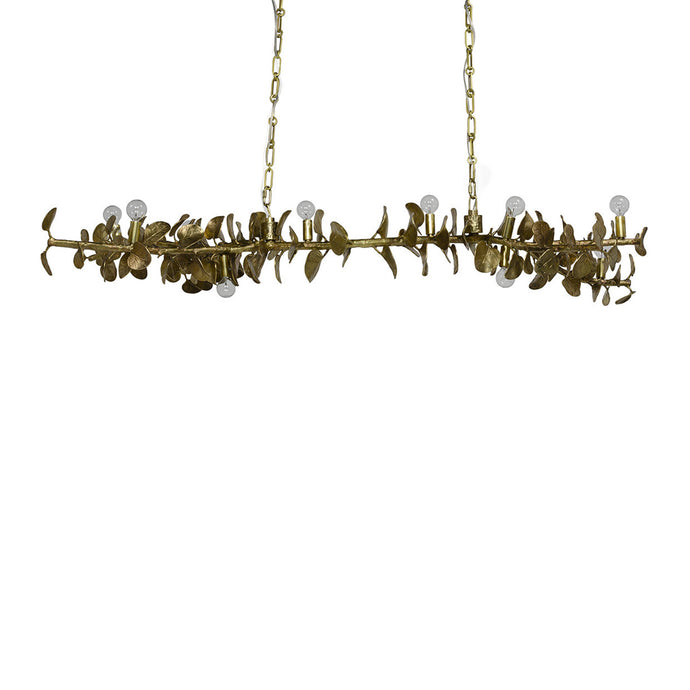 Eucalyptus Leaf Brass Chandelier