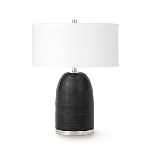 Rivoli Leather Table Lamp, Black