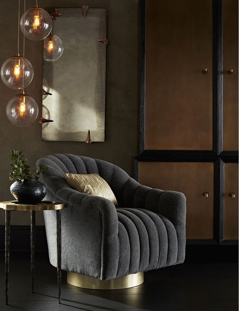Load image into Gallery viewer, Springsteen Chair Indigo Tweed Champagne Swivel