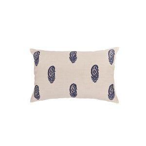 Fine Paisley Navy Embroidery Cushion Cover