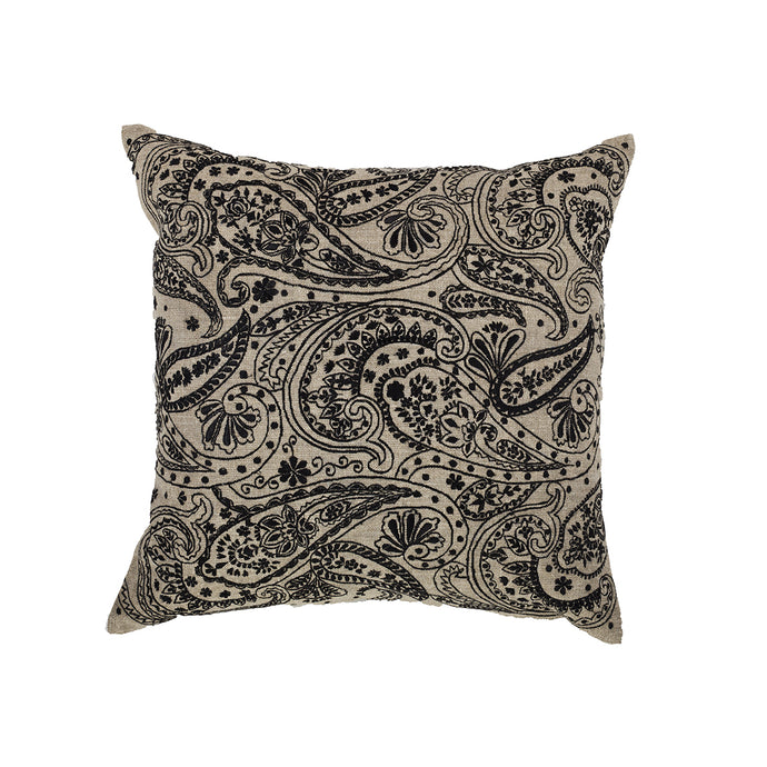 Paisley Black Embroidery Cushion Cover