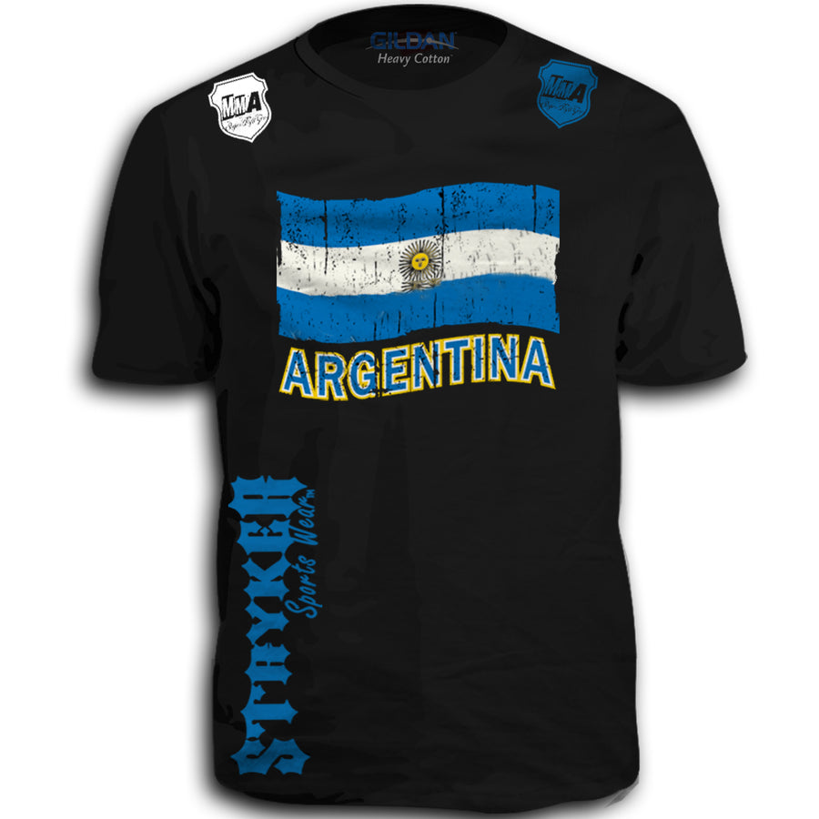 ARGENTINA FIFA WORLD CUP SOCCER MMA FLAG T-SHIRT BLACK