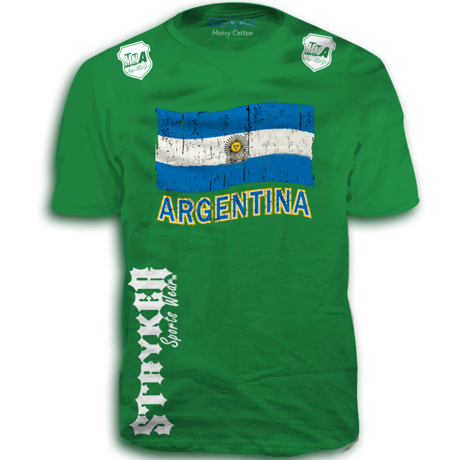 ARGENTINA FIFA WORLD CUP SOCCER MMA FLAG T-SHIRT GREEN