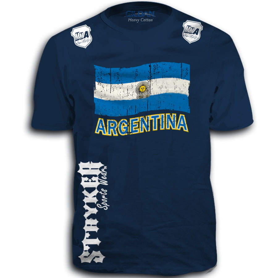 ARGENTINA FIFA WORLD CUP SOCCER MMA FLAG T-SHIRT NAVY