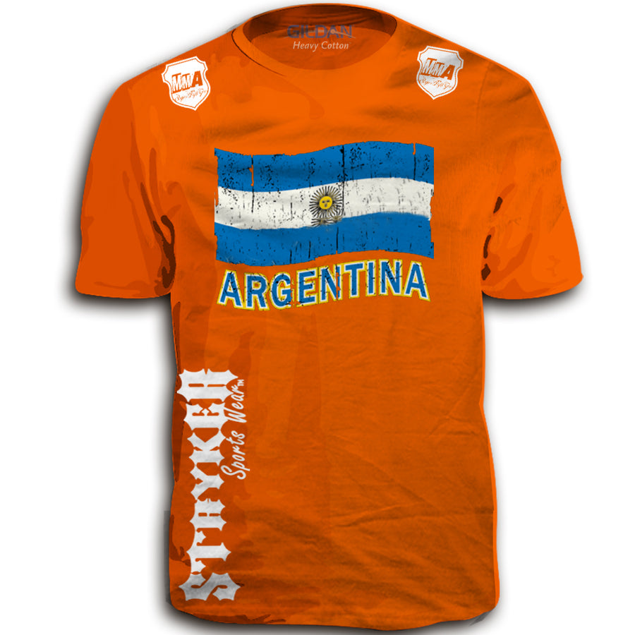 ARGENTINA FIFA WORLD CUP SOCCER MMA FLAG T-SHIRT ORANGE