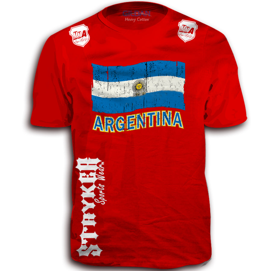 ARGENTINA FIFA WORLD CUP SOCCER MMA FLAG T-SHIRT RED