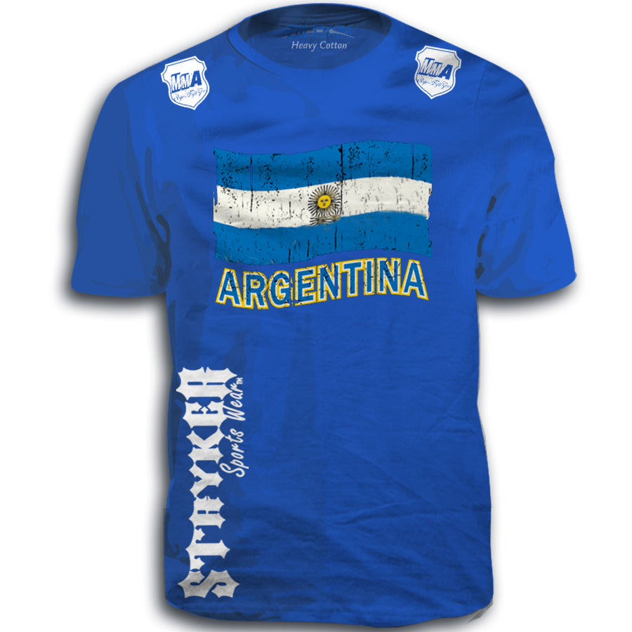 ARGENTINA FIFA WORLD CUP SOCCER MMA FLAG T-SHIRT ROYAL