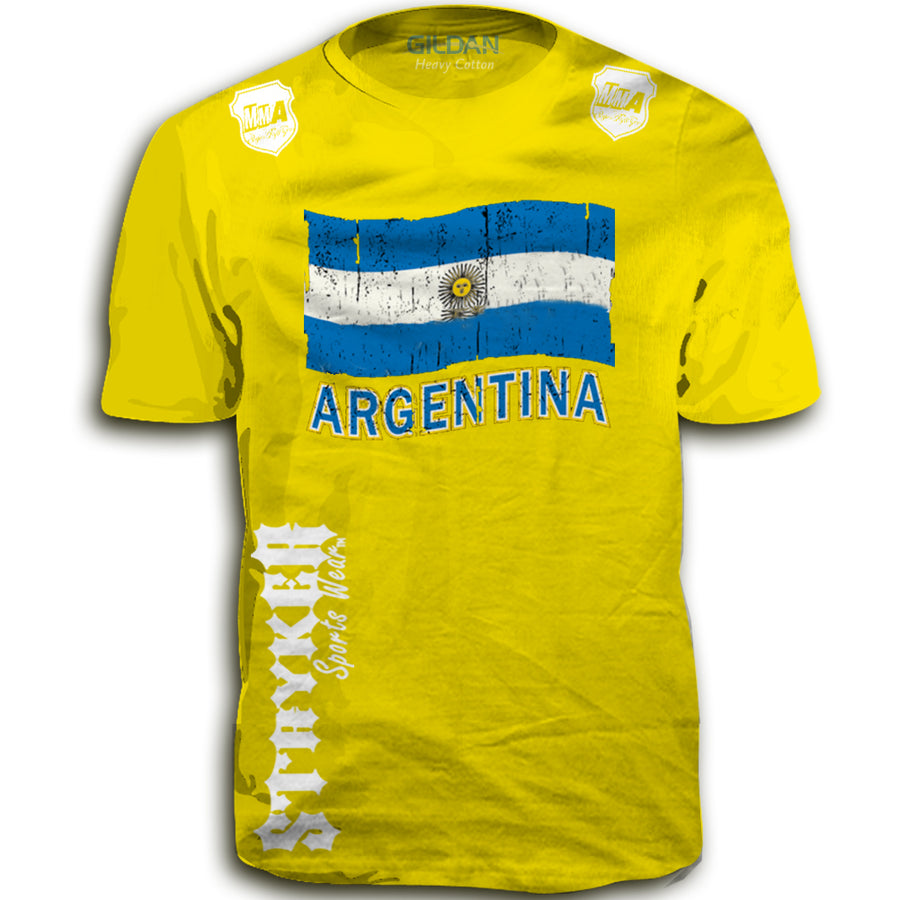 ARGENTINA FIFA WORLD CUP SOCCER MMA FLAG T-SHIRT YELLOW UFC