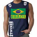 BRAZIL FIFA WORLD CUP SOCCER MMA MUSCLE SHIRT NAVY