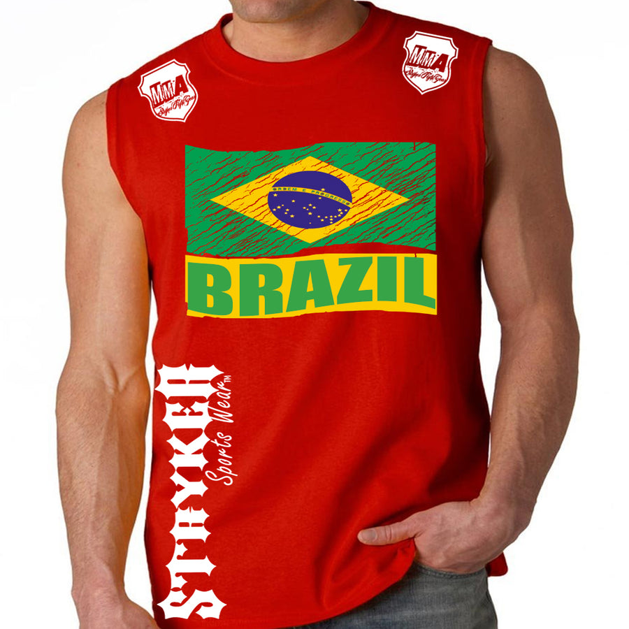 BRAZIL FIFA WORLD CUP SOCCER MMA MUSCLE SHIRT RED
