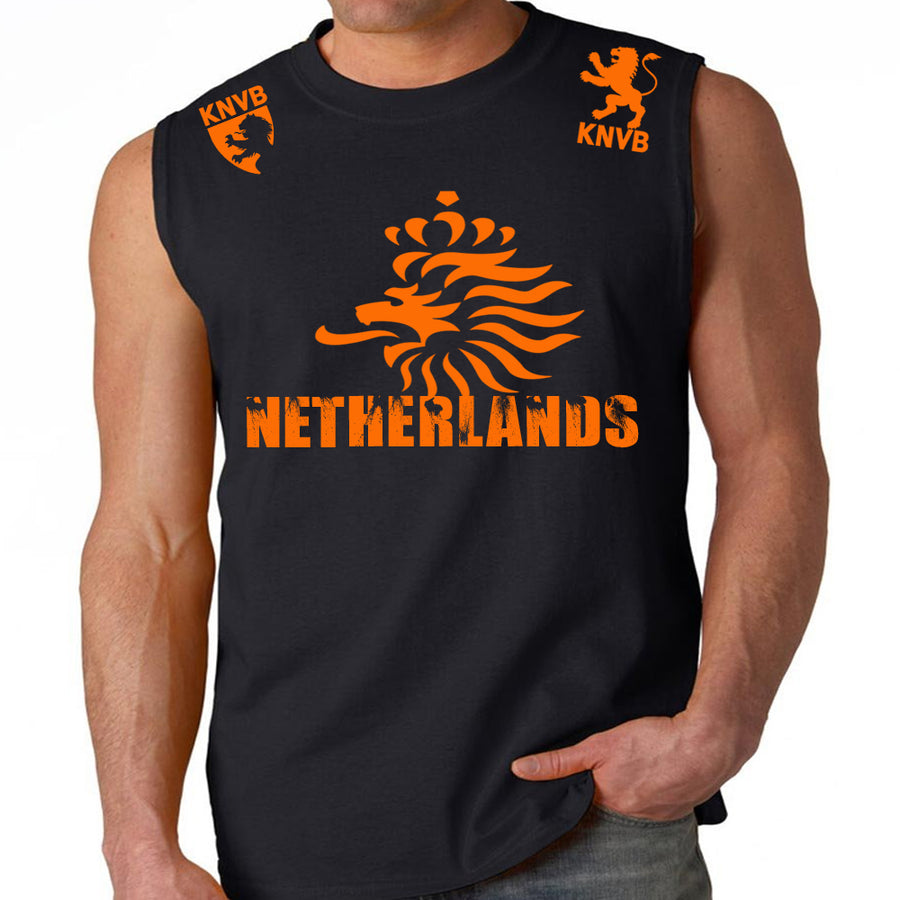 NETHERLANDS SOCCER FIFA WORLD CUP MENS MUSCLE SHIRT BLACK ORANGE LOGO