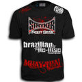 STRYKER FIGHT GEAR BLOOD SPLAT MMA UFC WALKOUT SHIRT BLACK RED WHITE LOGOS