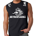 NETHERLANDS SOCCER FIFA WORLD CUP MENS MUSCLE SHIRT BLACK WHITE LOGO