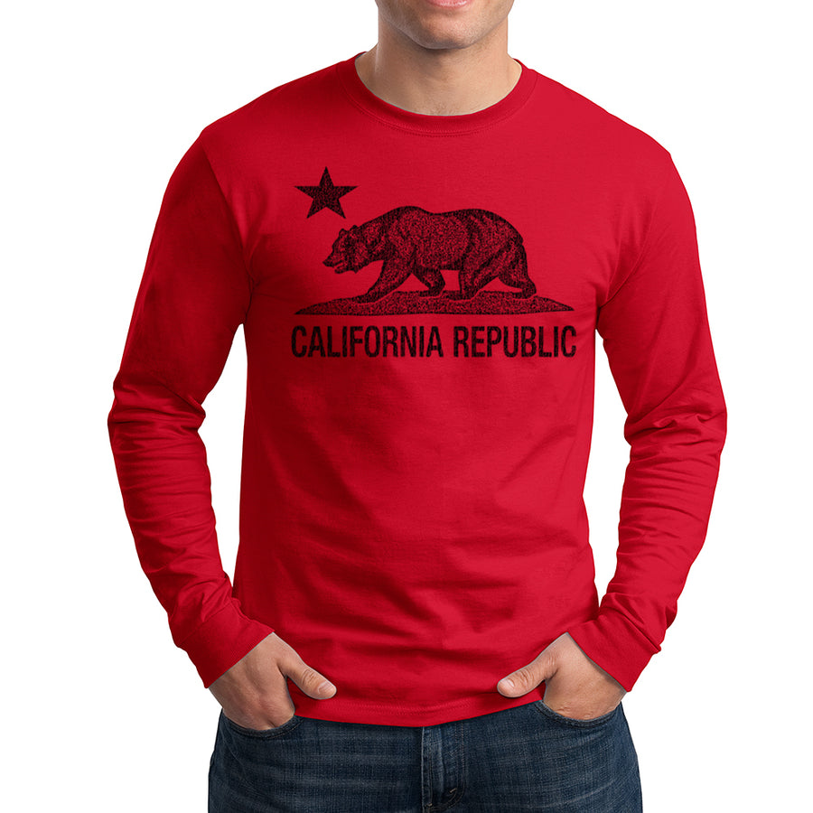 CALIFORNIA REPUBLIC STATE STAR BEAR LONG SLEEVE SHIRT RED