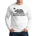 CALIFORNIA REPUBLIC STATE STAR BEAR LONG SLEEVE SHIRT WHITE