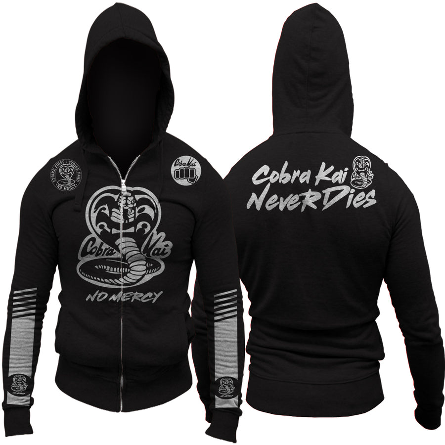 Cobra Kai Never Dies Dodge Challenger Edition No Mercy Adult Zip Up Hoodie