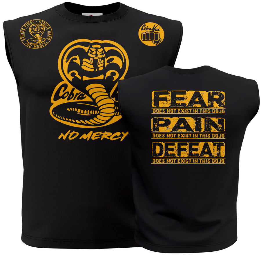Cobra Kai No Mercy Fear Pain Defeat Does Not Exist In This Dojo 80's youtube show Karate kid ufc mma Muscle Tank Top