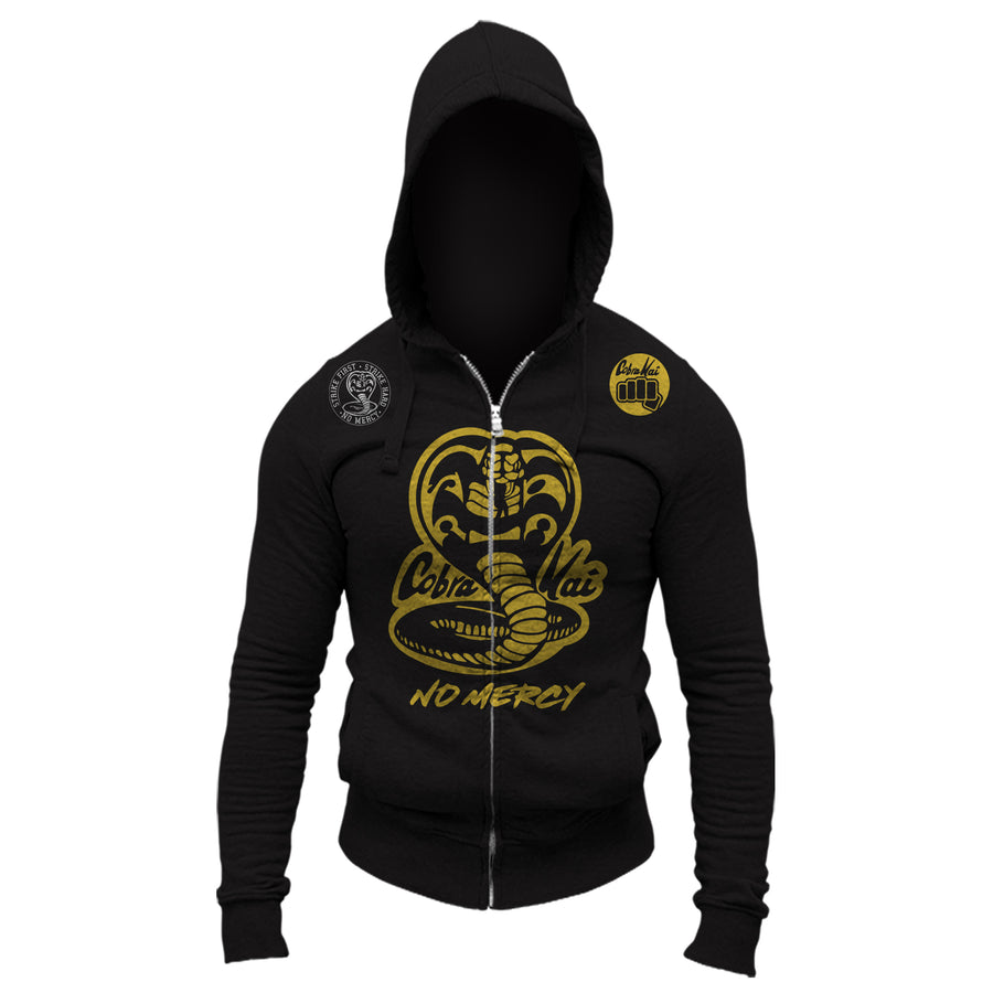 Cobra Kai No Mercy 80's Movie The Karate Kid Youtube Show Adult Full Zip-Up Hoodie Sweatshirt Black Gold Logos